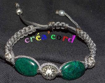 Shamballa bracelet with chrysocolla stones