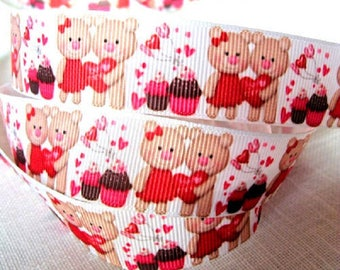 Ribbon grosgrain printed * 22 mm * COUPLE bears love heart red - sold by the yard