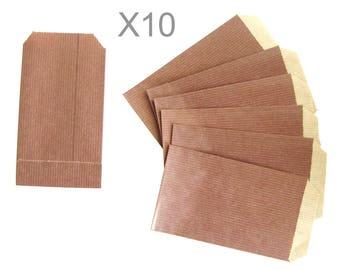 CHOCOLATE kraft paper gift pouches x 10pcs