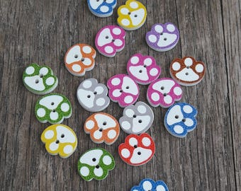Promo: Set of 19 buttons 15mm, dog paw / / ID N7