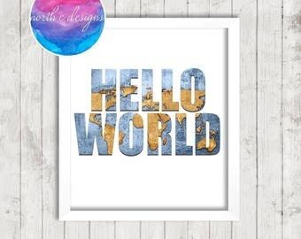 Hello World Home Décor Print by North C Designs