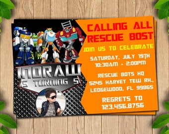 Rescue bots invitation, Transformers Invites, Rescue bots birthday invitation, Rescue bots party invitation, Rescue bots invitation,