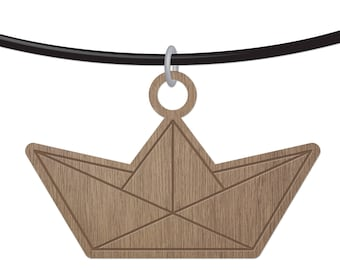 BOAT - ORIGAMI - laser cut wood - necklace