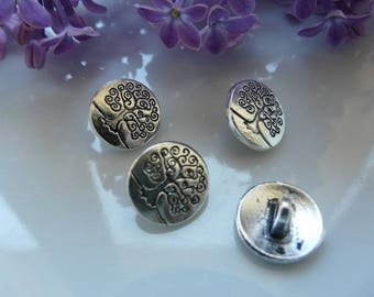 Silver tree button 14mm