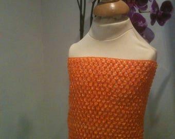 """1 crochet strapless 1/2/3 years tutu dress """"orange"""""""