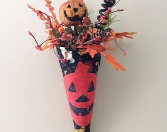 Fall/Halloween pumpkin cone