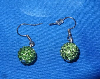 Earrings dangle green shamballa