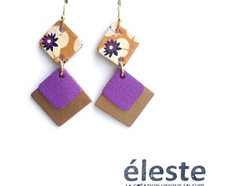 Purple Leather earrings / yellow, green, gold patterns / lightweight earrings with hypoallergenic and anti oxidant clip
