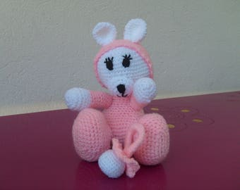 crocheted pink and white wool bear