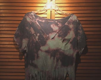 Bleach-Dyed Fringed Tee