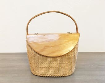 Vintage Basket & Wood Carrier