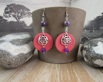 """Silver earrings, natural stones and leather """"Roses"""""""