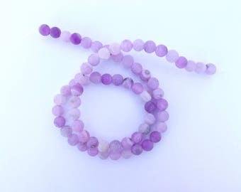 64 frosted agate round beads purple 6 mm ZUI-101
