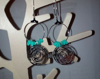 pair of turquoise and silver long earring