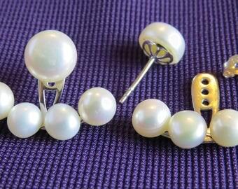 Double Imitation Silver Fresh water Pearls Stud Earring