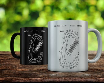 Oval Carabiner Patent Mug, Outdoorsy, Rock Climbing Art, Outdoorsman, Mountain Home Gift, Ourdoorsman, Sports