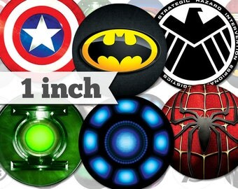 1 inch - Superheroes - 18 Images - Printable INSTANT DIGITAL DOWNLOAD - Stickers, Bottle Caps, Magnets, Buttons, Collage Sheet - a012