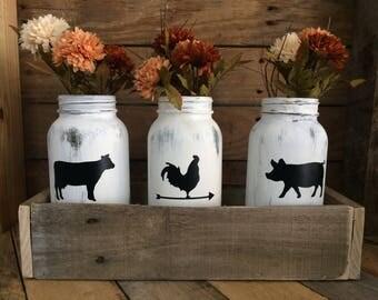 mason jar centerpiece. planter box. centerpiece. mason jar planter box. farmhouse.