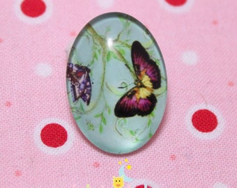 Glass cabochon oval motif Butterfly purple and yellow 18 / 25mm