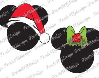 Christmas Mickey Mouse SVG, DXF ESP Files Disney Clipart, Png cut files Minnie mouse cutting files Silhouette cameo cricut cut files Disney