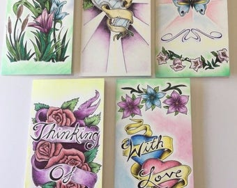 Beautiful Handmade Cards- 5 Cards With Envelopes