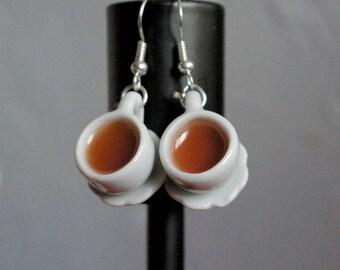Miniature ceramic tea cup of tea cup earring