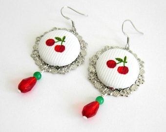 Retro, cherry, Silver earrings, cabochon cherries pattern fabric, Crystal, red, green, white