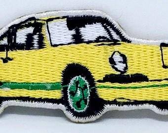 Model 811 Porsche Carrera IRON ON PATCH Small Yellow Emblem, Sports Car Applique