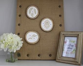 Baby Girl Nursery Dreamer Set of 3 Decorative Wood Rounds