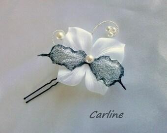 PIC Satin Organza white black flower hair clip