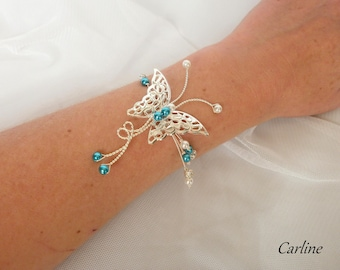Carline rhinestones - Wedding rhinestone Crystal Butterfly Bracelet Turquoise and white