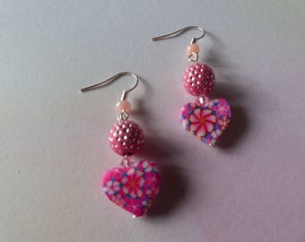 Heart earrings and pink rhinestones