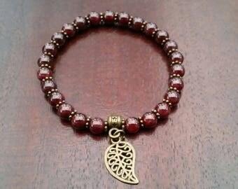 Garnet bracelet - beads 6 mm