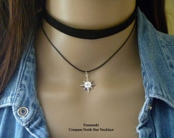 North Star Compass Choker Necklace, North Star Charm, 925 Sterling Silver Compass Charm, Compass North Star Pendant