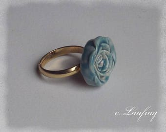 Ring ceramic romantic flower shaped turquoise
