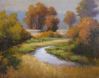 "Modern Art Painting Original Landscape Oil Painting on Canvas, Plein Air Nature Scene, 26x36 ""Meandering"" David Marty"