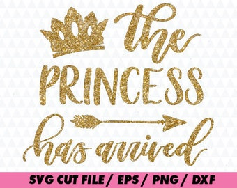 Birthday svg, princess has arrived svg, Newborn svg,  New baby svg, Birthday cricut, crown svg, princess svg, Cute svg, Baby svg