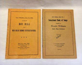 Songbooks from 1940s, Roy Hall and His Blue Ridge Entertainers, Autographed, and Woody Williams