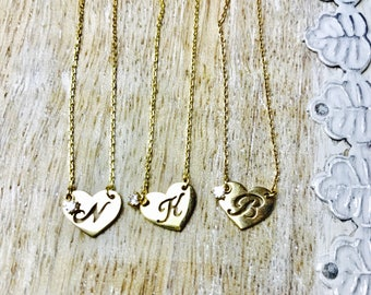 10k yellow gold heart initial charm necklace