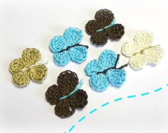 6 butterflies crocheted cotton ecru, Taupe and turquoise