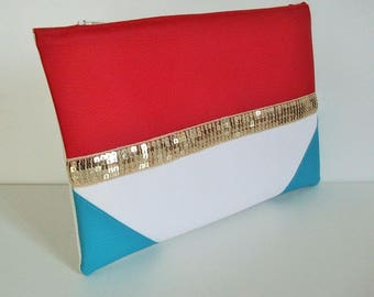 Clutch faux leatherette multicolor and glitter