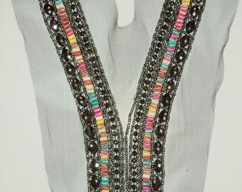 Collar and silver beads on tulle