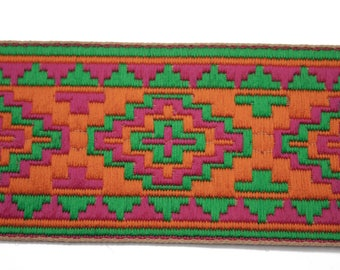 Orange pink green 6 cm x 50 cm Jacquard Ribbon