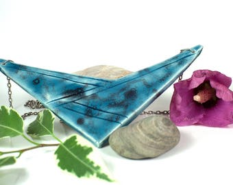 Handmade jewelry, rock necklace light blue