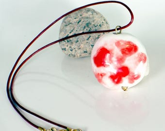 Ceramic Medallion red and white necklace
