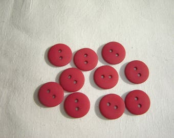 10 BUTTONS ROUND PLASTIC RESIN RED / / 15 MM