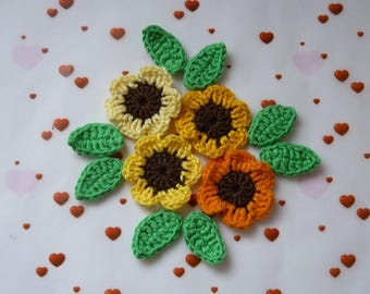 4 yellow and orange flowers and 8 leaves crocheted tounesols crochet