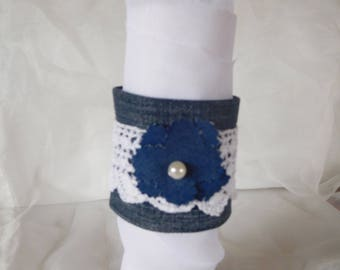 Jean and antique lace Cuff Bracelet