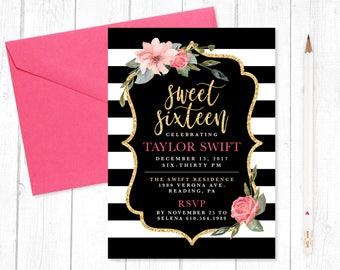 Kate Spade Inspired Sweet Sixteen [16] Birthday Invitation   Digital  Download, Printing Options