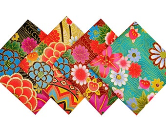Lot of fabric - fabric - fabric flower - floral fabric - Japanese 4 Coupons Patchwork 24x26cm - CP7